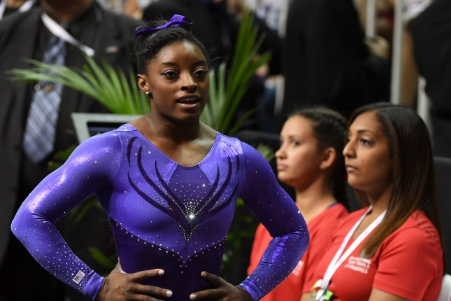 Simone Biles waits to perform at the U.S. Olympic Trials for Women's Gymnastics at the SAP Center in San Jose, California on July 8, 2016. Photo by Terry Schmitt/UPI