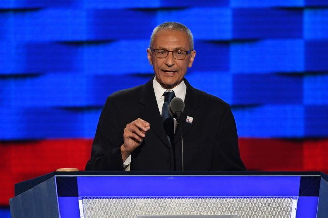 John Podesta, chairman of the 2016 Hillary Clinton presidential campaign, speaks at the Democratic National Convention at the Wells Fargo Center in Philadelphia in July. Podesta's Gmail account was hacked by Russian operatives, researchers said Thursday, leading to a series of leaks detrimental to Clinton's campaign. File Photo by Pat Benic/UPI
