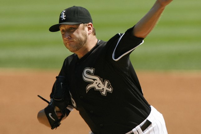 Former Chicago White Sox starting pitcher Mark Buehrle delivers a pitch during the first inning against the Boston Red Sox at U.S. Cellular Field in Chicago on September 7, 2009. UPI/Brian Kersey