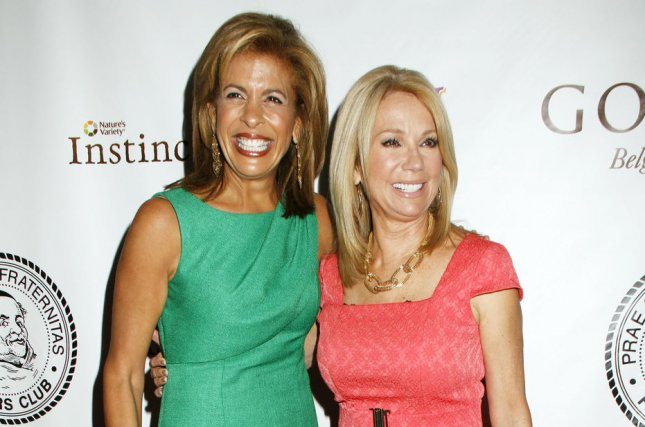 Hoda Kotb (L) and Kathie Lee Gifford attend the Friars Club Roast of Betty White on May 16, 2012. The new mom brought daughter Haley Joy to meet Gifford on Monday. File Photo by Laura Cavanaugh/UPI