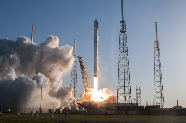 The SpaceX Falcon 9 rocket launches at 6:51 PM from Complex 40 at the Cape Canaveral Air Force Station, Fla. on Wednesday. On board is NASA's TESS (Transiting Exoplanet Survey Satellite) which will be placed into orbit to search for earth-like planets in nearby galaxies. Photo by Joe Marino-Bill Cantrell/UPI