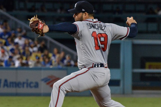 Atlanta Braves starting pitcher Anibal Sanchez (19) throws to the Los Angeles Dodgers in the first inning of Game 2 of the National League Division Series on October 5 at Dodger Stadium in Los Angeles. Photo by Jim Ruymen/UPI