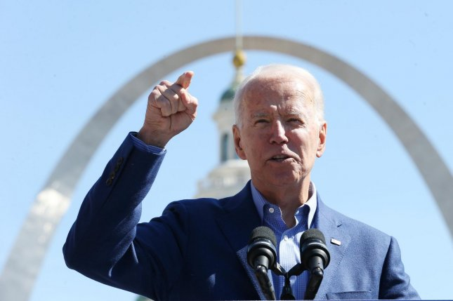 Former Vice President Joe Biden speaks in front of the Gateway Arch during a campaign stop in St. Louis, Mo., on Saturday. He won most of the vote in Tuesday's Missouri primary. Photo by Bill Greenblatt/UPI