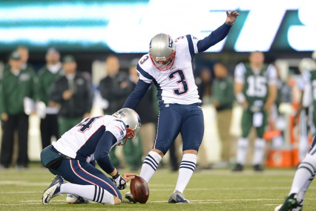Former New England Patriots kicker Stephen Gostkowski (3) spent the last 14 seasons with the Patriots. File Photo by Rich Kane/UPI