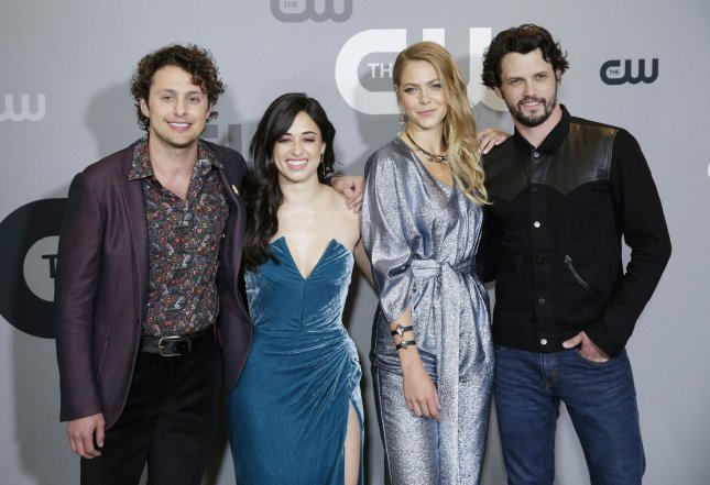 Left-right. Cast members Michael Vlamis, Jeanine Mason, Lily Cowles and Nathan Parsons of Roswell, New Mexico on the red carpet at The CW Network's 2018 Upfront in New York City. File Photo by John Angelillo/UPI