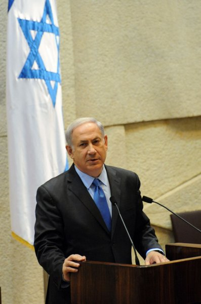 Israeli Prime Minister Benjamin Netanyahu speaks at a special memorial session in the Knesset in Jerusalem, marking the 15 year anniversary of slain Israeli Prime Minister Yitzhak Rabin death, October 20, 2010. Rabin was murdered by a right-wing Jew after a peace rally in Tel Aviv in 1995. UPI/Debbie Hill
