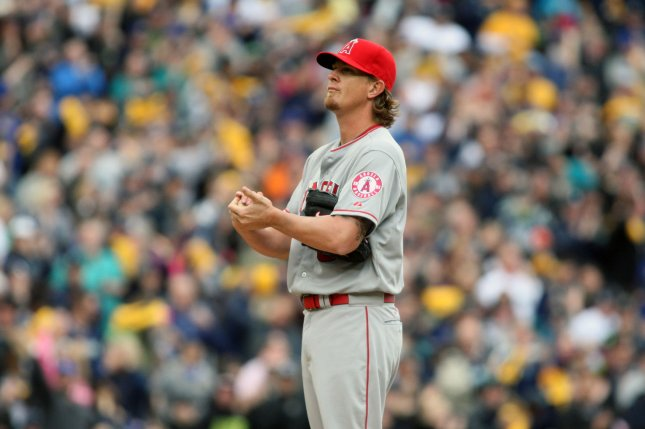 Los Angeles Angels starting pitcher Jered Weaver. Photo by Jim Bryant/UPI