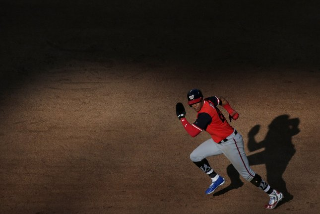 Washington Nationals rookie Juan Soto runs to second base against the New York Mets on August 25 at Citi Field in New York City. Photo by John Angelillo/UPI