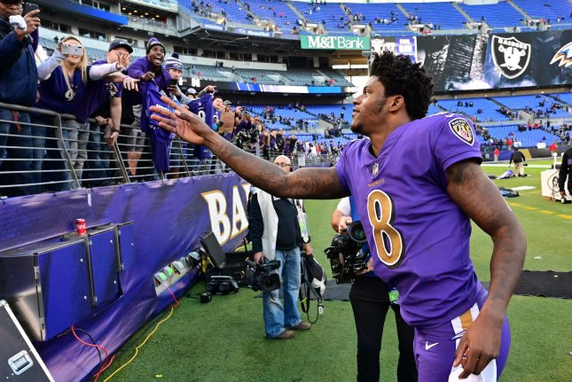 Baltimore Ravens quarterback Lamar Jackson (8) greets fans after an NFL game against the Oakland Raiders on November 25 at M&T Bank Stadium in Baltimore, Maryland. Photo by David Tulis/UPI