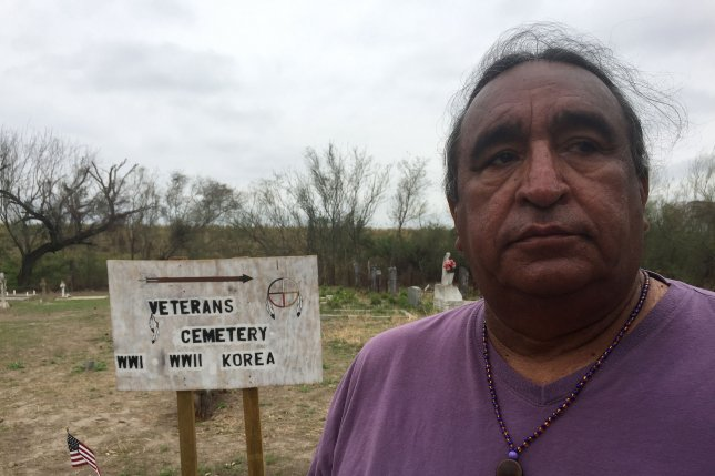 Juan Mancías, chairman of the Carrizo Comecrudo Tribe of Texas, fears border wall construction threatens the Eli Jackson cemetery in Pharr, Texas. Photo by Patrick Timmons/UPI