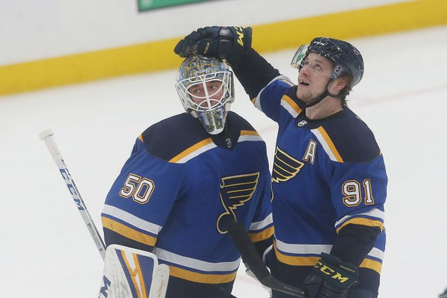 St. Louis Blues goaltender Jordan Binnington (L) stopped 38 shots in the Blues' 2-1 victory over the Boston Bruins in Game 5 on Thursday night. File Photo by Bill Greenblatt/UPI