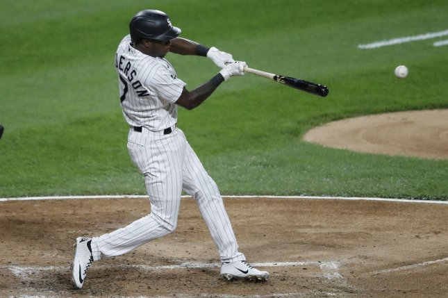 Chicago White Sox shortstop Tim Anderson hit an RBI double for an insurance run in the eighth inning of a win over the Minnesota Twins on Monday in Chicago.  Photo by Kamil Krzaczynski/UPI