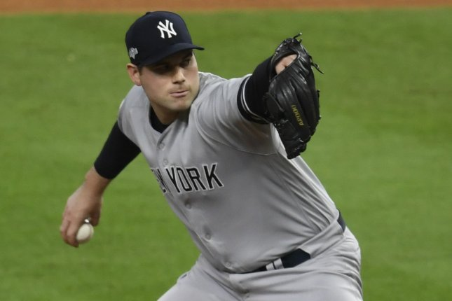 Former New York Yankees reliever Adam Ottavino had a 2-3 record and 5.89 ERA in 24 games last season. File Photo by Trask Smith/UPI