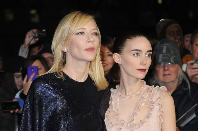Australian actress Cate Blanchett and American actress Rooney Mara attend a screening for Carol during the 59th BFI London Film Festival at Odeon Leicester Square in London on Oct. 14, 2015. Photo by Paul Treadway/ UPI