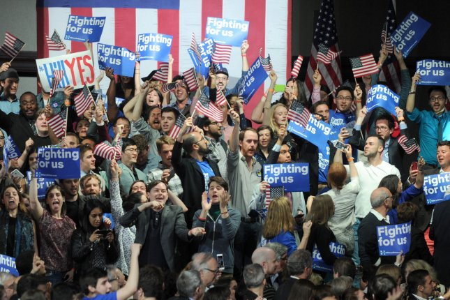 Supporters react when Democratic candidate for president Hillary Clinton speaks at the Sheraton New York Times Square after her New York Primary victory on Tuesday in New York City. Photo by Dennis Van Tine/UPI