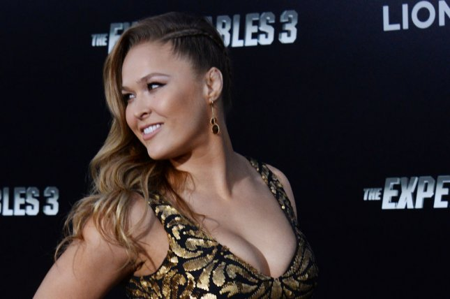 Cast member Ronda Rousey attends the premiere of the motion picture thriller The Expendables 3 at TCL Chinese Theatre in the Hollywood section of Los Angeles. UPI/Jim Ruymen
