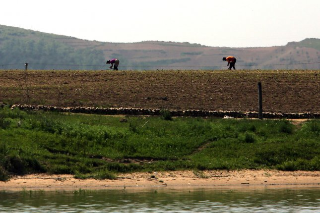 North Koreans work in the fields near the North Korean city Sinuiju, across the Yalu River from Dandong, China's largest border city with North Korea. A domestic food shortage and a decrease in international food aid to the country means less nutritional support for North Korean children, according to the World Food Program. File Photo by Stephen Shaver/UPI