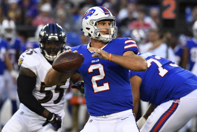 Buffalo Bills quarterback Nathan Peterman (2) throws downfield against the Baltimore Ravens during the first half of an NFL preseason game at M&T Bank Stadium in Baltimore, Maryland, August 26, 2017. File photo by David Tulis/UPI
