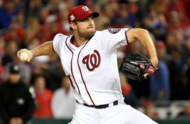 Max Scherzer and the Washington Nationals face the Los Angeles Dodgers on Friday. Photo by Pat Benic/UPI