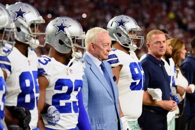 e92616a9802 Dallas Cowboys owner Jerry Jones (blue jacket) stands with his players  before the national anthem prior to the Cowboys playing the Arizona  Cardinals on ...