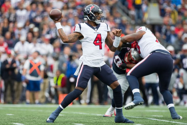 Houston Texans quarterback Deshaun Watson (4) drops back for a pass in the first quarter against the New England Patriots on September 9, 2018 at Gillette Stadium in Foxborough, Massachusetts. Photo by Matthew Healey/UPI