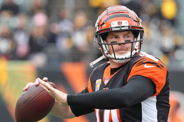 Cincinnati Bengals quarterback Andy Dalton (14) throws during warm ups before their game against the Pittsburgh Steelers on October 14, 2018 at Paul Brown Stadium in Cincinnati, Ohio. Photo by John Sommers II/UPI