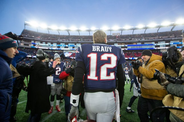 New England Patriots quarterback Tom Brady (12) heads off the field at the end of the AFC Divisional playoff game against the Los Angeles Chargers on January 13 at Gillette Stadium in Foxborough, Mass. Photo by Matthew Healey/UPI