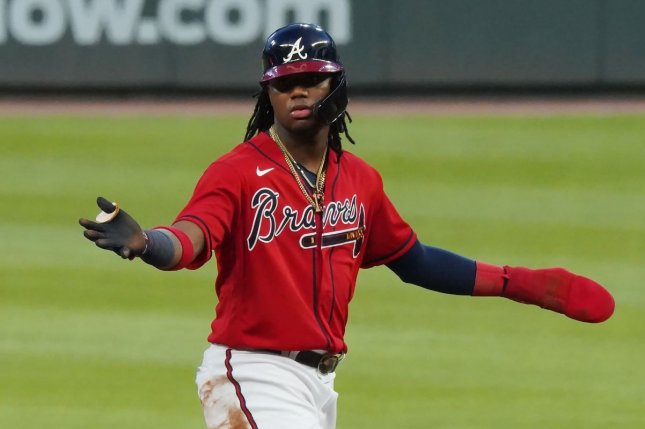 Atlanta Braves outfielder Ronald Acuna Jr. hit a home run to give his squad a 1-0 lead in the first inning of a win over the New York Yankees Wednesday in Atlanta. Photo by Tami Chappell/UPI