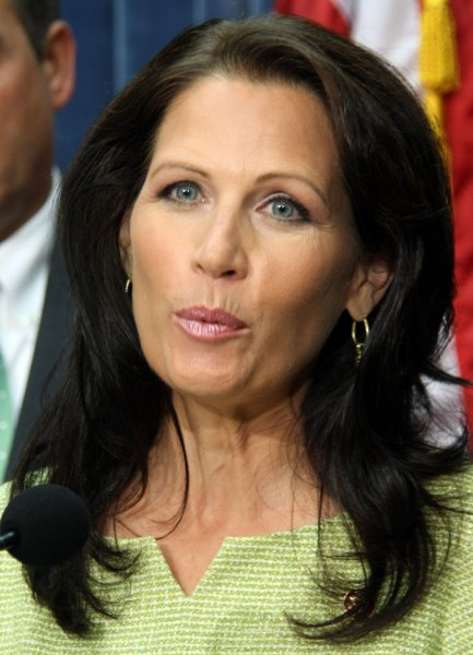 Rep. Michele Bachmann (R-MN) speaks about the recent tour taken by House Republicans of the National Renewable Energy Laboratory in Golden, Colorado, Alaska's Prudhoe Bay and Arctic coastal plain, in Washington on July 22, 2008. (UPI Photo/Jack Hohman)