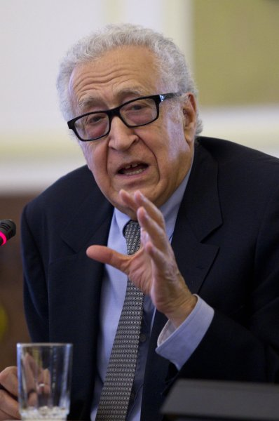 UN-Arab League Special Envoy to Syria Lakhdar Brahimi answering questions at a press conference in Tehran, Iran, on October 26, 2013. (UPI/Maryam Rahmanian)