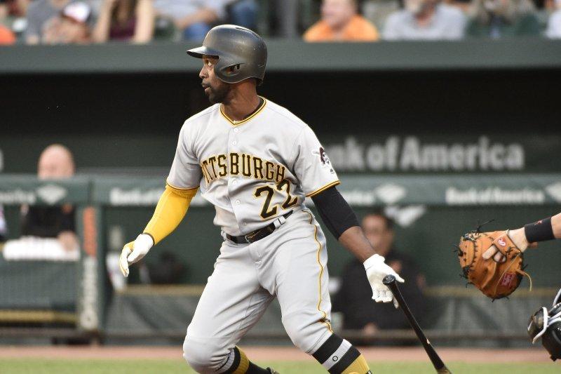 Pittsburgh Pirates' Andrew McCutchen hits a home run. File photo by David Tulis/UPI