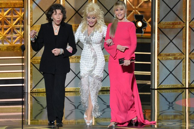 Left to right, Lily Tomlin, Dolly Parton and Jane Fonda. Fonda says that she is still moving ahead with a sequel to 9 to 5 that will star the original cast pictured here. File Photo by Jim Ruymen/UPI