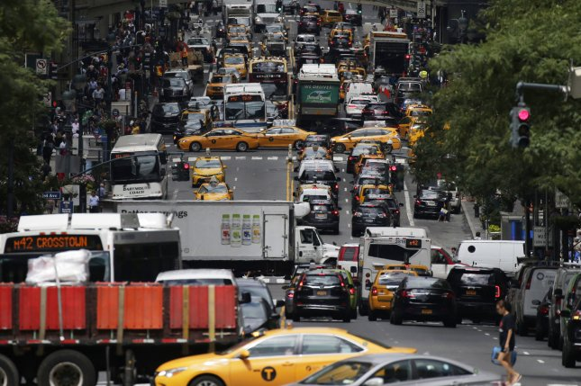 Cars fill 42nd Street in Manhattan Friday, a day after the Trump administration announced plans to freeze an Obama-era rule mandating automakers make cars substantially more fuel efficient in the coming decade. UPI Photo