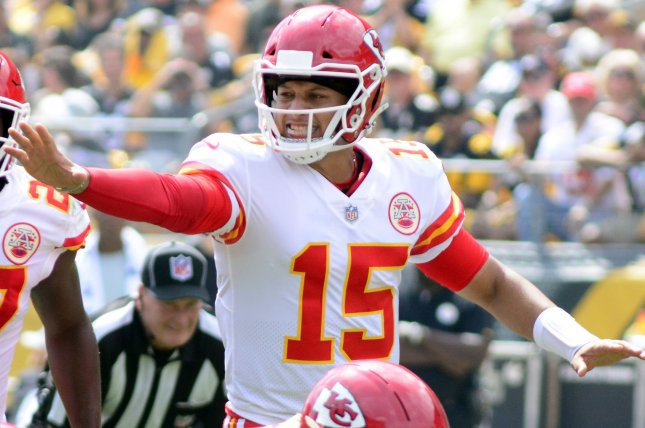 Kansas City Chiefs quarterback Patrick Mahomes (15) signals to his line during the first quarter against the Pittsburgh Steelers on September 16 at Heinz Field in Pittsburgh. Photo by Archie Carpenter/UPI
