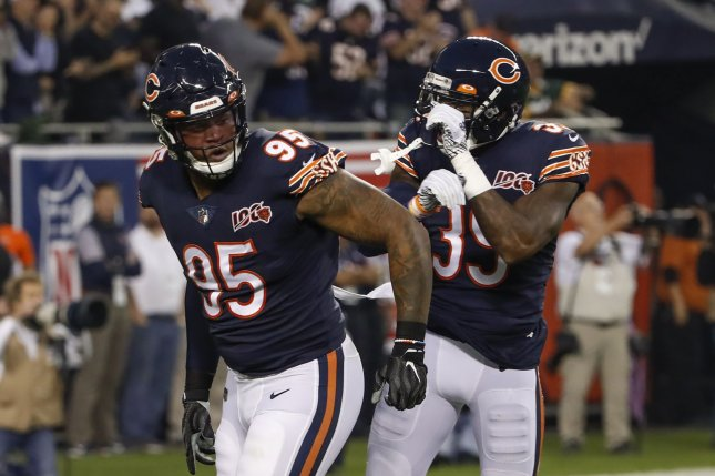 Chicago Bears safety Eddie Jackson (39) was selected to his second Pro Bowl this season. File Photo by Kamil Krzaczynski/UPI