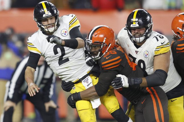 Cleveland Browns defensive end Myles Garrett (C) had 10 sacks in 10 starts in 2019. File Photo by Aaron Josefczyk/UPI