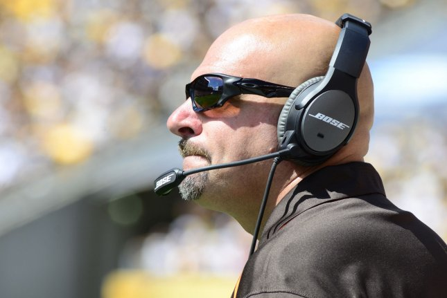 Green Bay Packers defensive coordinator Mike Pettine becomes the third straight defensive coordinator for Green Bay to be fired or let go without a head-coaching change. File Photo by Archie Carpenter/UPI