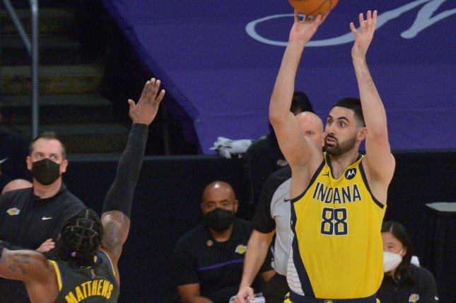 Indiana Pacers big man Goga Bitadze (88), shown March 12, 2021, was involved in a heated verbal exchange with assistant coach Greg Foster during Wednesday's loss to the Sacramento Kings. File Photo by Jim Ruymen/UPI