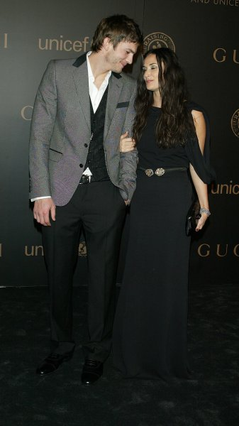Ashton Kutcher and Demi Moore arrive at Madonna and Gucci's A Night to Benefit Raising Malawi and UNICEF Gala at the United Nations in New York on February 6, 2008. (UPI Photo/Laura Cavanaugh)