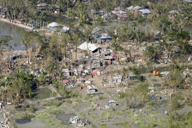 An aerial view of a village in Bangladesh Nov. 20, 2007, shows devastation left by Cyclone Sidr five days earlier.. (UPI Photo/Julius Hawkins/U.S. Navy)