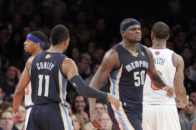 Former Memphis Grizzlies forward Zach Randolph reacts after scoring a basket in the second half against the New York Knicks at Madison Square Garden in New York City. File photo by John Angelillo/UPI