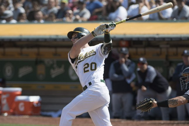 Oakland Athletics outfielder Mark Canha (20) blasts a home rune off New York Yankees relief pitcher A.J. Cole in the fifth inning on Monday at the Coliseum in Oakland, Calif. Photo by Terry Schmitt/UPI