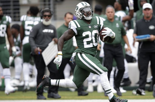 Former New York Jets running back Isaiah Crowell signed a one-year deal with the Oakland Raiders in March, but isn't expected to see the field after sustaining an off-season injury. File Photo by John Angelillo/UPI
