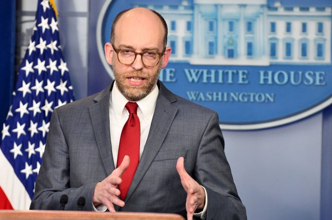 Office of Management and Budget acting Director Russell Vought speaks to reporters about the Federal Fiscal 2020 Budget in the Brady Press Briefing room at the White House on March 11. File Photo by Pat Benic/UPI