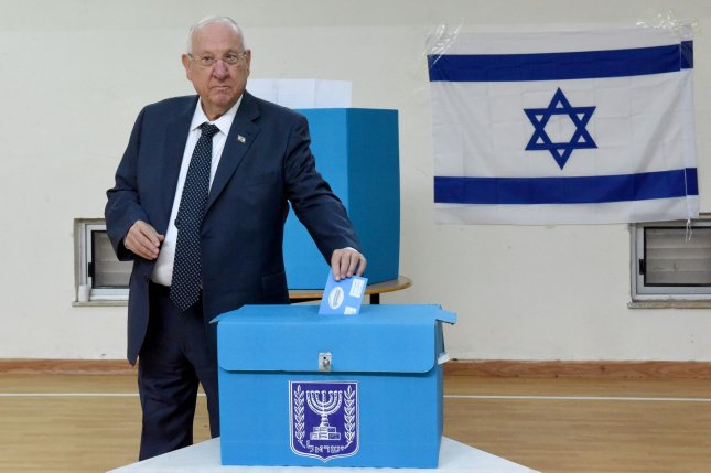 Israeli President Reuven Rivling cast his ballot Monday in Jerusalem, during the nation's third election in less than a year. Photo by Debbie Hill/UPI