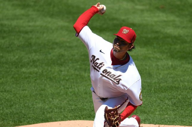 Washington Nationals starting pitcher Anibal Sanchez had five strikeouts and allowed one run over seven innings in a win over the Miami Marlins Sunday in Washington, D.C. Photo by Kevin Dietsch/UPI