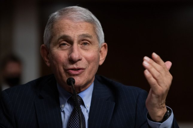 Dr. Anthony Fauci, director of the National Institute of Allergy and Infectious Diseases, said Thursday that technological advances have sped vaccine development for COVID-19, but the requirements for approval and use remain as stringent as ever. Pool Photo by Graeme Jennings/UPI