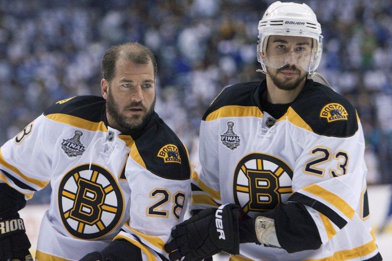 Former Boston Bruins Mark Recchi (L.) and Chris Kelly. UPI/Heinz Ruckemann