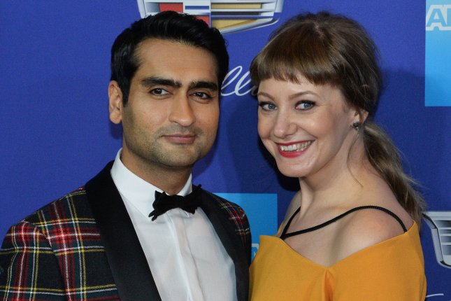 Kumail Nanjiani (L) and Emily V. Gordon attend the 29th annual Palm Springs International Film Festival awards gala in California on January 2. The couple -- who wrote The Big Sick together -- have been nominated for the WGA honor for Best Original Screenplay. Photo by Jim Ruymen/UPI