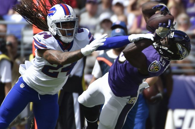 Former Baltimore Ravens receiver Breshad Perriman during a game against the Buffalo Bills during a game in 2016. Photo by David Tulis/UPI